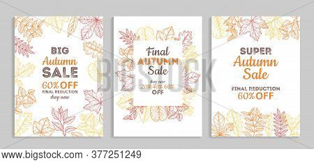 Autumn Sale Banners. Fall Advertising Vouchers, Colorful Discount Poster. Thanksgiving Season Specia