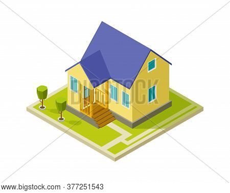 Urban Cottage Exterior. Simple Isometric House Building. Isolated 3d Home With Trees Vector Illustra