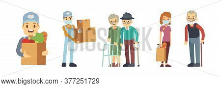Delivery Services. Volunteering, Food Courier With Box And Packaging. People Delivering Grocery. Con
