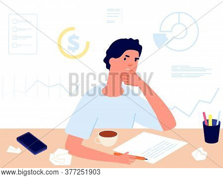 Financial Planning. Investments Choice, Man Thinking About Money. Accounting, Profit Calculation Vec