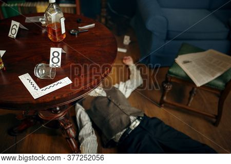 Murdered victim and evidence at the crime scene