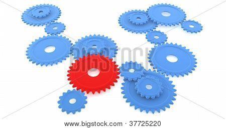 A red gear amongst blue gear