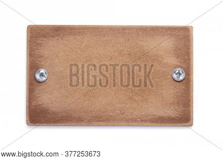 aged wooden signboard or nameplate isolated on white background