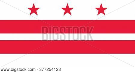 District Of Columbia Us - Washington, D.c. Flag In Official Proportions And Color, Vector