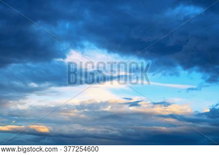 Dramatic blue sky background, sky nature, vast sky landscape panoramic scene. Colorful sky view in bright tones, sky landscape, sky scene, colorful sky background. Vast sky, panoramic sky view