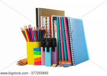 Different School Supplies Isolated On White Background