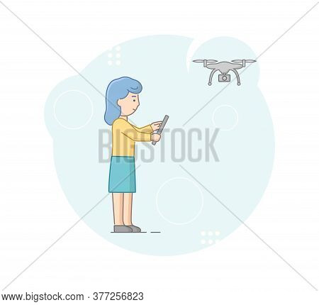 Concept Of Hi Tech. Young Creative Woman Is Launching Drone, Control Flight Of Gadget With Remote Co