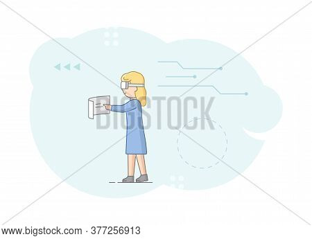 Virtual Reality Playing Games And Work. Woman In Goggles Plays Typing On Screen. Girl Imagines Herse