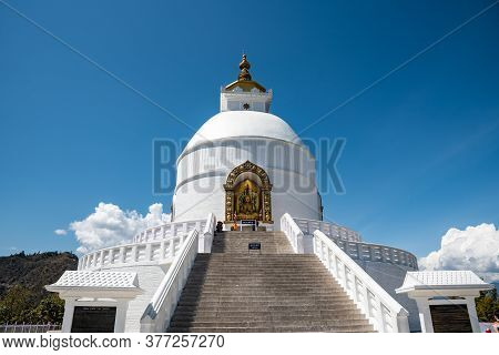 Pokhara, Nepal, March 15 2020: The Famous World Peace Pagoda Buddhist Temple, Shanti Stupa On Anadu
