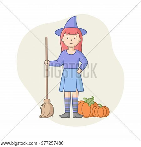 Halloween Party Celebration Concept. Woman Disguised To Evil Character, Witch Or Vampire On Carnival