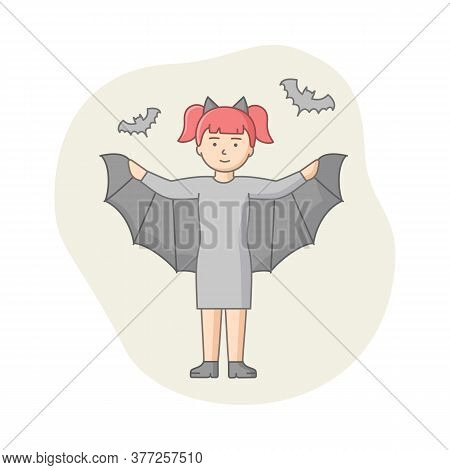 Concept Of Halloween Party Celebration. Woman Disguised To Evil Character, Witch Or Vampire On Carni