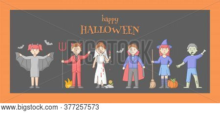 Halloween Party Celebration Concept. Set Of People Disguised To Evil Characters, Zombie, Walking Dea