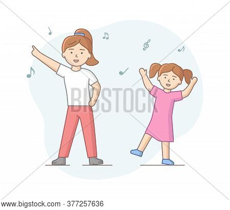 Dance Party Concept. Girls Dancing Together. Satisfied Mother And Daughter In Different Dance Poses.