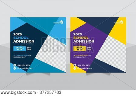 Admission Social Media Post Banner Template Design, Back To School Admission Promotion Social Media