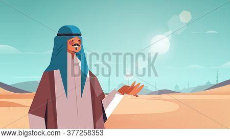 Arabian Man Walking In Desert Happy Arab Guy In Traditional Clothes Ramadan Kareem Holy Month Arabia