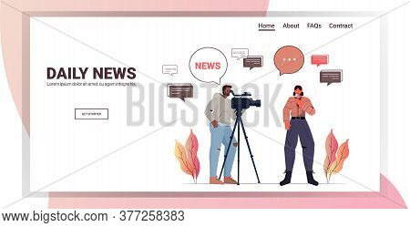 Male Operator With Female Reporter Presenting Live News Journalist And Cameraman Doing Report Togeth