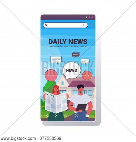 Couple Reading And Discussing Daily News During Meeting Chat Bubble Communication Concept Man Woman
