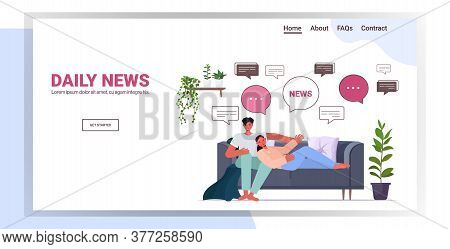 Couple Relaxing On Sofa Discussing Daily News Chat Bubble Communication Concept Man Woman Spending T