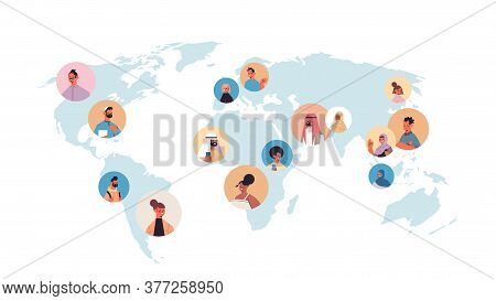 Mix Race People Avatars On World Map Global Communication Concept Male Female Cartoon Characters Por