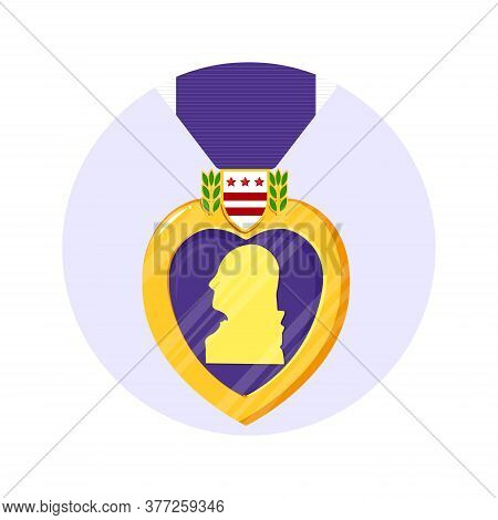 Purple Heart Orden In The Circle. Isolated Vector Badge And Purple Ribbon In Flat Style. Celebrate H