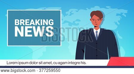 Anchorman Broadcasting Daily Breaking News On Tv Media Journalism Press Concept Horizontal Portrait