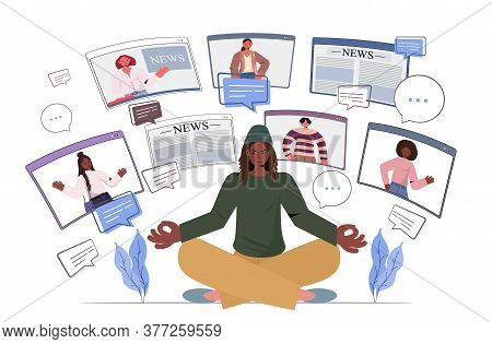 African American Man Sitting Lotus Pose Discussing Daily News With Friends In Web Browser Windows Ch