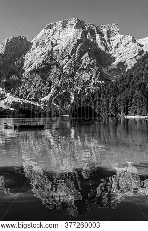 Black And White Image Of Lake Braies And Its Reflections, Italian Landscape In South Tyrol
