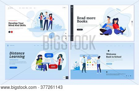 Web Page Design Templates Of Distance Learning, Back To School, Library And Bookstore, Business Skil