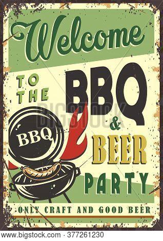 Retro Poster With Barbeque Maker And Bbq Sausage