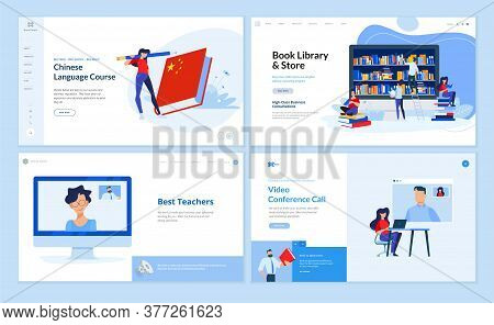 Web page design templates of language school, book library and bookstore, distance education, video conference call. Vector illustration concepts for website development.