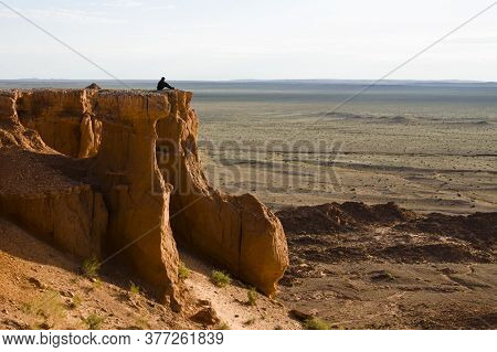 Sandstone Formations Of Bayanzag (flaming Cliffs) Is Archeological Dinosaur Dig Site In South Gobi D