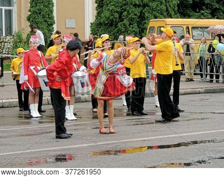 Voronezh, Russia - May 31, 2015: Brass Band Performance Of Youth Participants In Russian Folk Costum