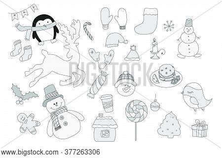 Thematic Sketch. Winter Sketch. Vector. Background. Illustration. Deer, Snowman, Lollipop, Candy, Gi