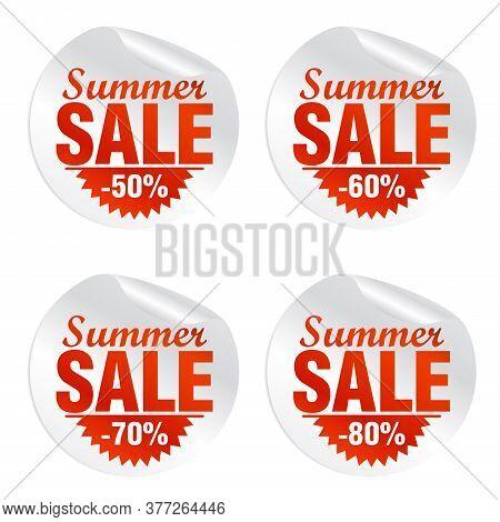 Summer Sale Stickers Set, Minus 50, 60, 70, 80 Percent Off. Vector Illustration