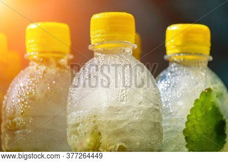 Selective Focus On Mojito Or Lemonade With Mint. Summer Time Fresh Cold Drink. Lemonade Or Mojito Co