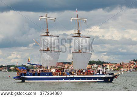 Mikolajki, Poland, July 12: Boats At Harbor On July 12, 2020 At Mikolajki, Poland. Mikolajki Is A Re