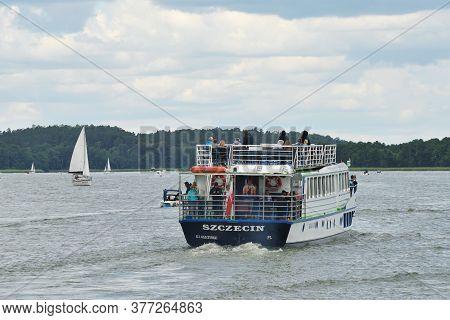 Mikolajki, Poland, July 12: Boat At Sniardwy Lake On July 12, 2020 At Mikolajki, Poland. Sniardwy Is