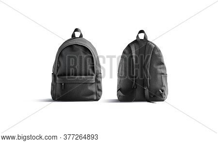 Blank Black Backpack With Zipper And Strap Mockup, Front Back, 3d Rendering. Empty Student Sport Ruc