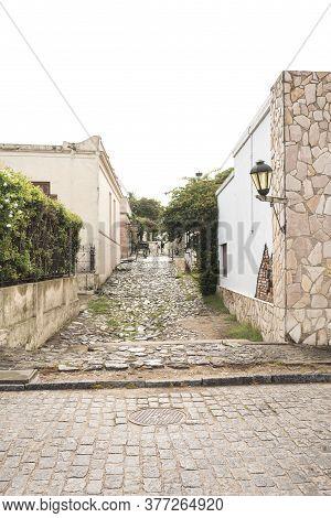 Colonia Del Sacramento / Uruguay; Jan 2, 2019: Cobblestone Street In The Touristic Historical Center
