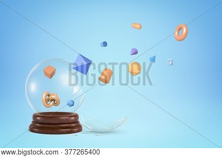 3d Rendering Of Broken Glass Snow Globe Letting Out Different Geometric Shapes That Are Flying Away