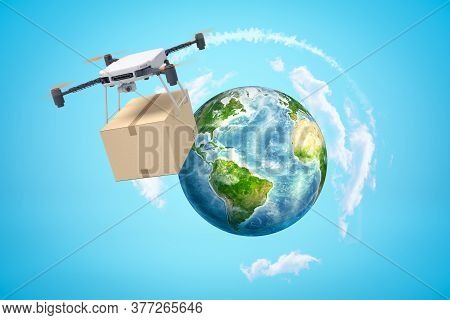 3d Rendering Of Camera Drone Carrying Cardboard Box And Flying High Above Earth Globe Which Is Far B