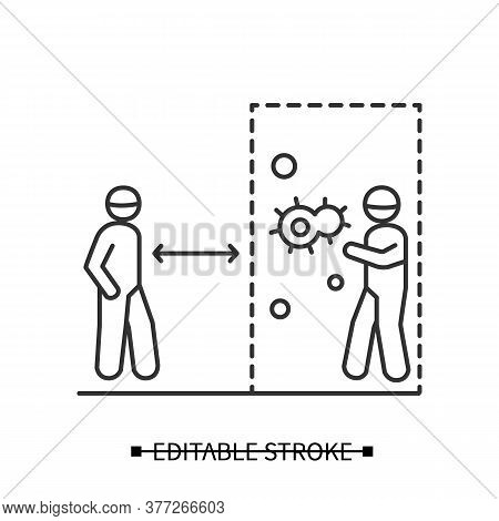 Keep Social Distance Icon. Person Keeping Away From Covid Infected Man Entering Public Area Linear P