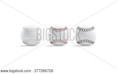 Blank White Baseball Ball With Seam Mockup, Side View, 3d Rendering. Empty Cow-hide Softball For Usa