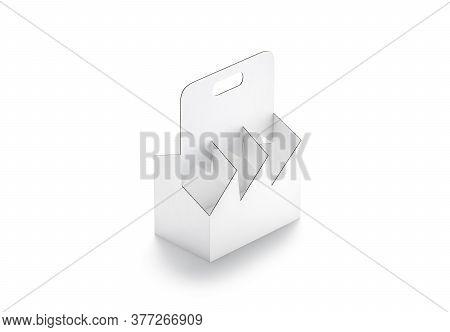Blank White Empty Cardboard Bottle Holder Mockup, Side View, 3d Rendering. Empty Take Away Paper Six