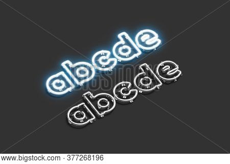 Decorative A B C D E Letters, Neon Font Mockup, 3d Rendering. Empty Lowercase Xenon Typeface For Lig