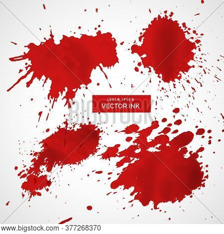 Collection Of Red Ink Splatter Vector Design Illustration