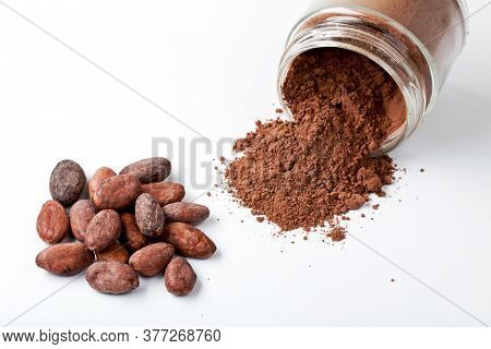 Cocoa Beans And Jar Of Cocoa Powder On The White Background Closeup