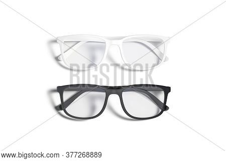 Blank Black And White Eye Glasses Mockup Set, Top View, 3d Rendering. Empty Protection Spectacles Wi