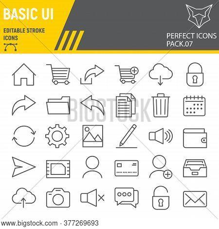 Basic Ui Line Icon Set, Web Mobile Symbols Collection, Vector Sketches, Logo Illustrations, Ui Icons