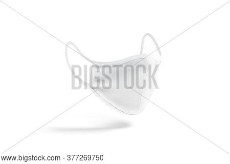 Blank White Fabric Face Mask Mockup, Side View, No Graity, Depth Of Field, 3d Rendering. Empty Prote